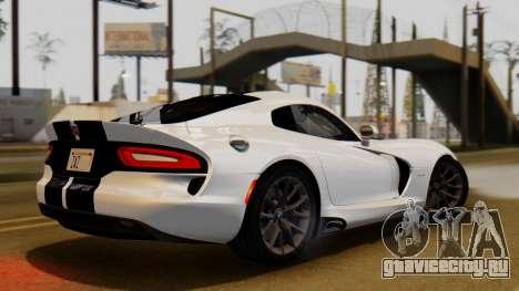 Dodge Viper SRT GTS 2013 IVF (HQ PJ) LQ Dirt для GTA San Andreas вид сзади слева