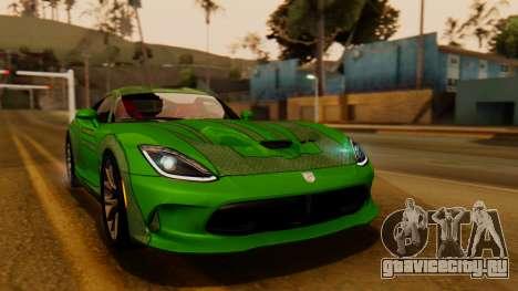 Dodge Viper SRT GTS 2013 IVF (HQ PJ) No Dirt для GTA San Andreas вид сзади