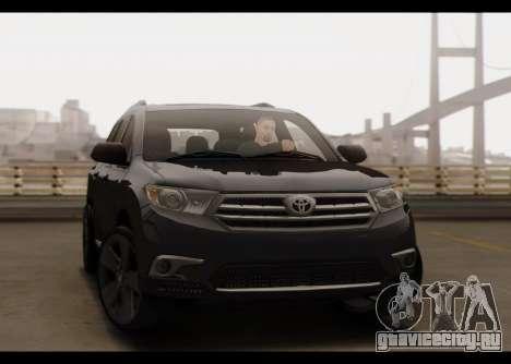 Toyota Highlander 2011 для GTA San Andreas вид сбоку