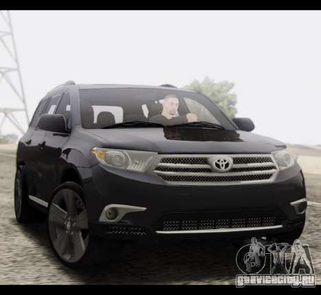 Toyota Highlander 2011 для GTA San Andreas вид сзади
