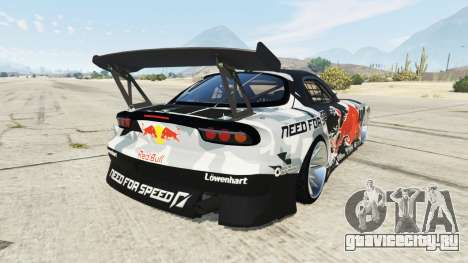 Mazda RX-7 MadMike для GTA 5 вид сзади слева
