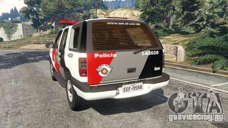 Chevrolet Blazer Sao Paulo State Police для GTA 5 вид сзади слева