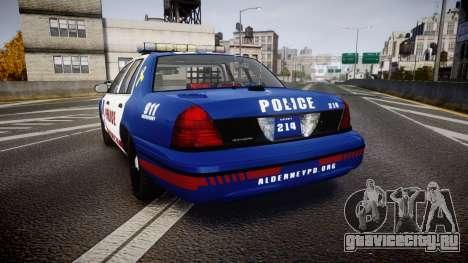 Ford Crown Victoria Alderney Police [ELS] для GTA 4 вид сзади слева
