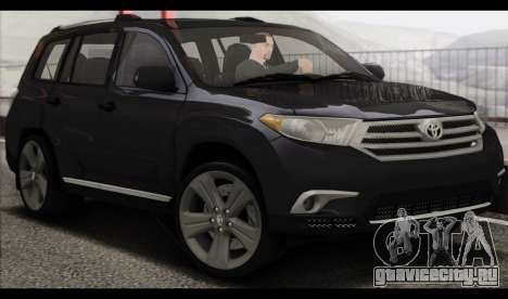 Toyota Highlander 2011 для GTA San Andreas вид слева