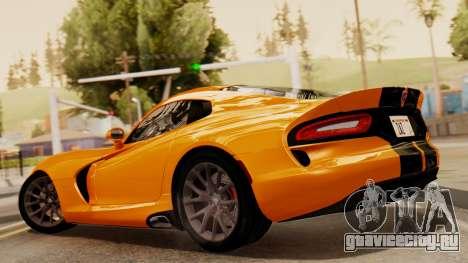 Dodge Viper SRT GTS 2013 IVF (HQ PJ) No Dirt для GTA San Andreas вид слева