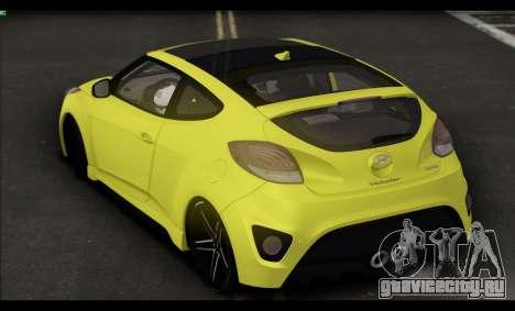 Hyundai Veloster 2012 для GTA San Andreas вид сзади