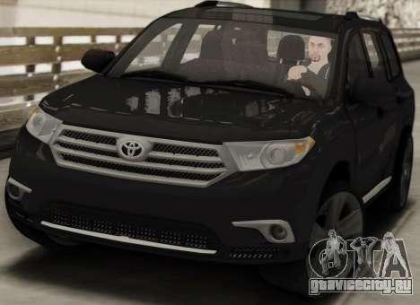 Toyota Highlander 2011 для GTA San Andreas вид изнутри