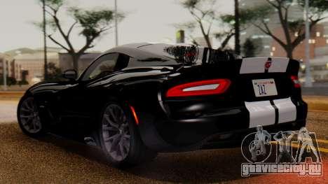 Dodge Viper SRT GTS 2013 IVF (MQ PJ) LQ Dirt для GTA San Andreas вид сзади слева