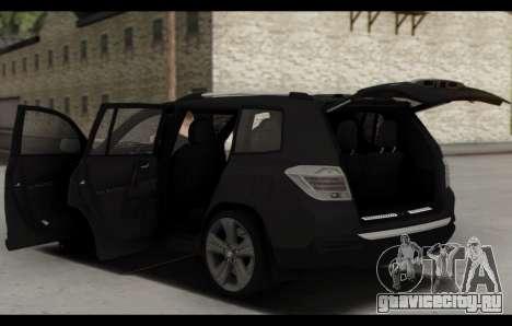 Toyota Highlander 2011 для GTA San Andreas вид снизу