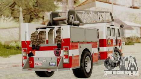 SAFD Fire Lader Truck для GTA San Andreas вид сзади слева