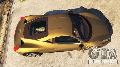 Ferrari 458 Italia v0.9.3 для GTA 5 вид сзади