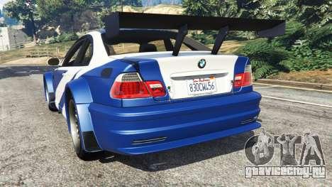 BMW M3 GTR E46 Most Wanted для GTA 5 вид сзади слева