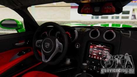 Dodge Viper SRT GTS 2013 IVF (MQ PJ) No Dirt для GTA San Andreas вид справа