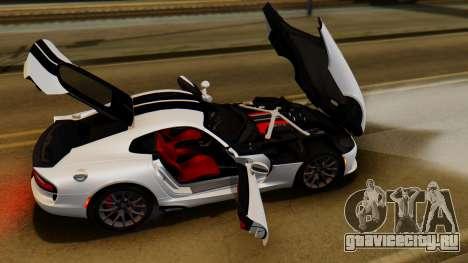 Dodge Viper SRT GTS 2013 IVF (HQ PJ) LQ Dirt для GTA San Andreas вид сзади
