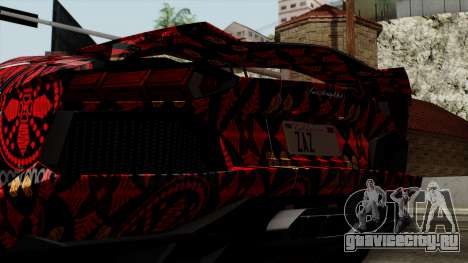 Lamborghini Aventador LP-700 Batik для GTA San Andreas вид изнутри