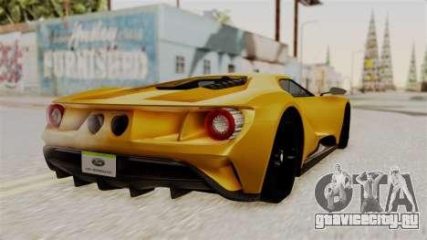 Ford GT 2016 Black Revel для GTA San Andreas вид слева
