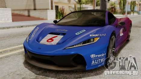 GTA 5 Progen T20 SA Style для GTA San Andreas вид сзади