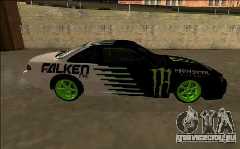 Nissan 200SX Drift Monster Energy Falken для GTA San Andreas вид изнутри