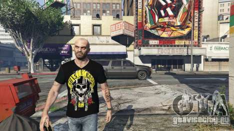 Trevor Guns and Roses Top Hat Shirt для GTA 5 третий скриншот