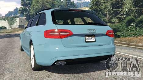 Audi A4 Avant 2013 для GTA 5 вид сзади слева