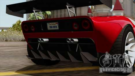 Vapid Bullet GT-GT3 для GTA San Andreas вид изнутри