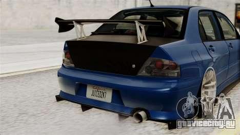 Mitsubishi Lancer Evolution v2 для GTA San Andreas вид изнутри