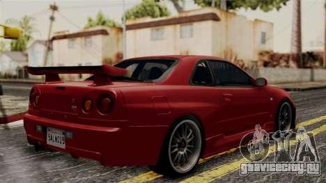 Nissan Skyline GT-R R34 2012 для GTA San Andreas вид сзади слева