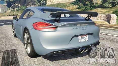 Porsche Cayman 2016 для GTA 5 вид сзади слева