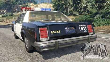 Ford LTD Crown Victoria 1987 LSPD для GTA 5 вид сзади слева