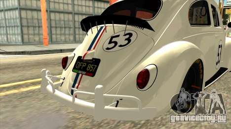 Volkswagen Beetle Herbie Fully Loaded для GTA San Andreas вид сзади