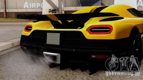 Koenigsegg Agera R 2014 для GTA San Andreas вид сзади