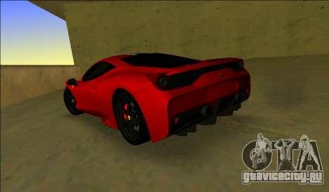 Ferrari 458 Speciale для GTA Vice City вид сзади слева