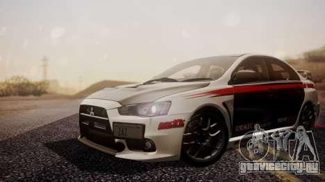Mitsubishi Lancer Evolution X 2015 Final Edition для GTA San Andreas вид сзади