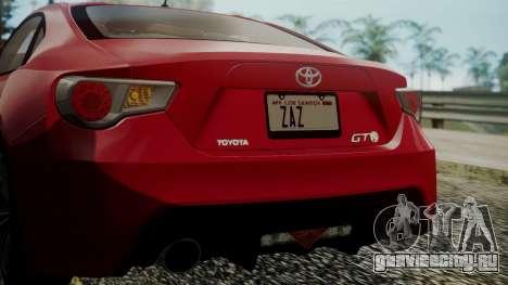 Toyota GT86 2012 LQ для GTA San Andreas вид снизу