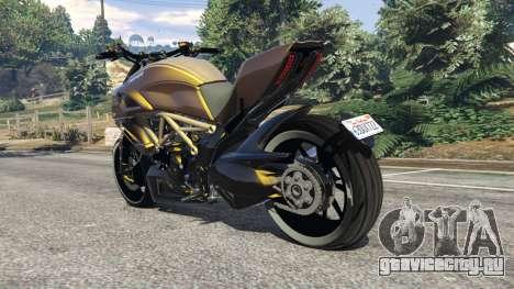 Ducati Diavel Carbon 11 v1.1 для GTA 5 вид сзади слева