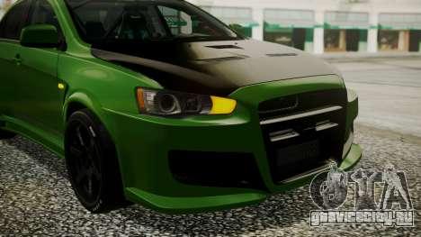 Mitsubishi Lancer Evolution X WBK для GTA San Andreas вид изнутри