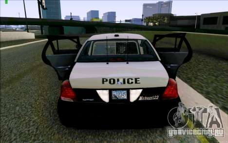 Weathersfield Police Crown Victoria для GTA San Andreas вид снизу