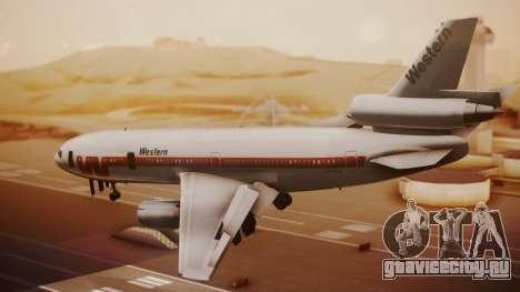 DC-10-10 Western Airlines для GTA San Andreas вид слева