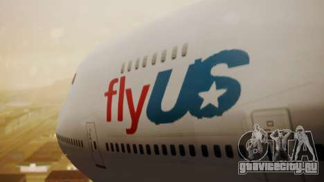 Boeing 747-200 Fly US для GTA San Andreas вид сзади