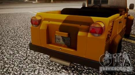 Volkswagen Safari Type 181 для GTA San Andreas вид сзади