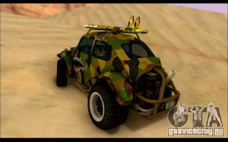 Volkswagen Baja Buggy Camo Shark Mouth для GTA San Andreas вид сзади слева