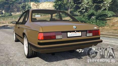 BMW M635 CSI (E24) 1986 для GTA 5 вид сзади слева