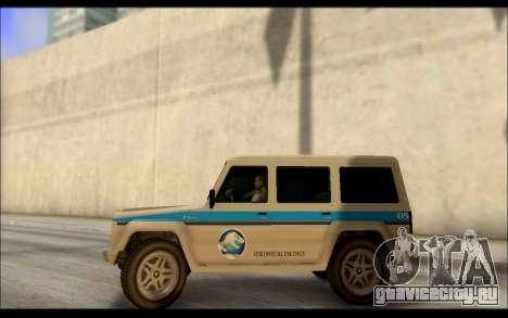 Benefactor Dubsta Jurassic World Paintjob для GTA San Andreas вид слева