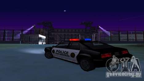 Полицейский четырёхдверный Buffalo для GTA San Andreas вид сзади слева