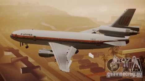 DC-10-10 United Airlines (80s Livery) для GTA San Andreas вид слева