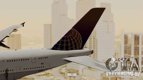 Airbus A380-800 United Airlines для GTA San Andreas вид сзади слева