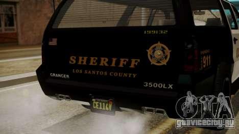 GTA 5 Declasse Granger Sheriff SUV IVF для GTA San Andreas вид изнутри