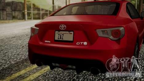 Toyota GT86 2012 LQ для GTA San Andreas вид сзади