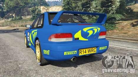 Subaru Impreza WRC 1998 для GTA 5 вид сзади слева