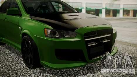 Mitsubishi Lancer Evolution X WBK для GTA San Andreas вид сзади